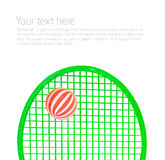 Green Tennis racket and balls isolated Royalty Free Stock Images