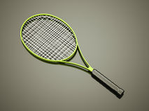Green tennis racket rendered Royalty Free Stock Photo