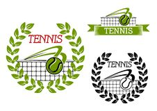 Green tennis sports game icon or symbol Stock Photos