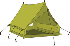 Green tent. The big green sports tourist tent Stock Images