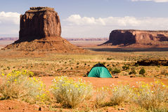 Green tent. Tent camping in Monument Valley Royalty Free Stock Photo