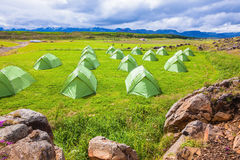 Green tent  Boy Scout camp Royalty Free Stock Images