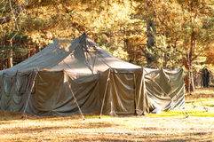 Green tent, camping, camping, woods Royalty Free Stock Photography