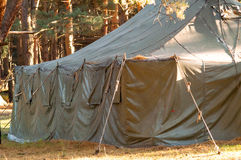 Green tent, camping, camping, woods Stock Photo