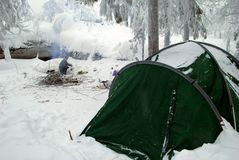 Green tent on a campsite in a winter forest near to mountains. Royalty Free Stock Photo