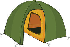 Green tent. Cartoon stock illustration