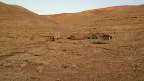 Green Tent in the Desert stock footage