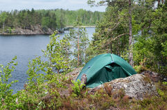 Green tent in forest, camping. Tourism, lifestyle, activity. Nature Stock Photo