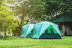 Green tent on the grounds Royalty Free Stock Photo