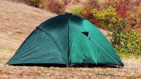 Green tent at nature stock video footage