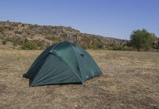 Green tent at nature Royalty Free Stock Image