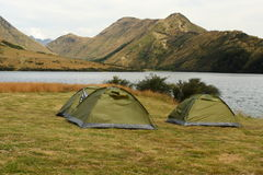 Green tents at Moke Lake Royalty Free Stock Images