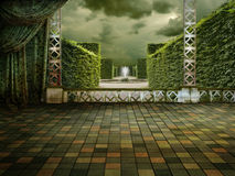 Green terrace. Beautiful green Terrace with Park View Royalty Free Stock Photos