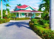 Green territory of the Gran Banya Luxor hotel in Punta Cana Royalty Free Stock Photo