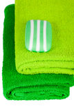 Green terry towels and soap Royalty Free Stock Images