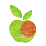 Green textile apple with leaf isolated on white. Background Stock Photography