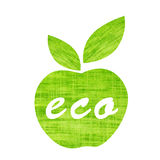 Green textile apple with leaf and word eco isolated. On white background Royalty Free Stock Photography