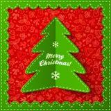 Green textile applique Christmas tree Stock Image