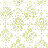 Green textile damask flower seamless pattern Stock Image