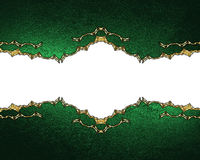 Green texture with gold ornaments. Element for design. Template for design. copy space for ad brochure or announcement invitation, Royalty Free Stock Image