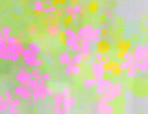 Green texture with pink flowers Stock Photo