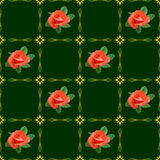 Green texture with roses - vector Royalty Free Stock Photos