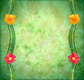Green textured background with flowers Stock Photo