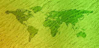 Green textured eco world map Stock Image