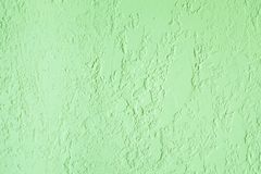 Green textured plastered wall. Fresh otvetka in commercial premises, designer renovation in the house.  royalty free stock image