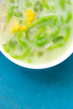 Green thai dumplings in coconut cream and corn. Thailand dessert Stock Photo