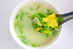 Green thai dumplings in coconut cream and corn. Thailand dessert Stock Photography