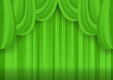Green theater curtain Stock Photos