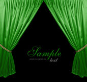 Green theater curtain background. Isolated vector illustration