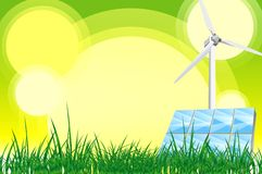 Green Theme. Green Power Theme. Green Energy Illustration. Wind Turbine and Solar Panels. Great Copy Space. This is not a Vector File Stock Images