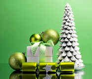 Green theme Christmas gift and bauble decorations Royalty Free Stock Photography