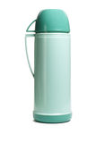 Green thermos flask. Green plastic thermos flask with cup on white background Stock Photos