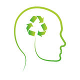 Green think clean the world icon Royalty Free Stock Images