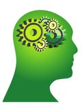 Green thinking. Abstract illustration of a green human head with gears Royalty Free Stock Images