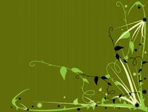 Green thorny floral. Design on a green background stock illustration
