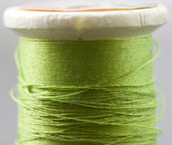 Green Thread. A white spool holds light green sewing thread Royalty Free Stock Photos