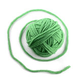 Green thread ball. Isolated on white background Stock Image