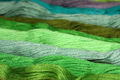 Green thread embroidery floss Royalty Free Stock Images