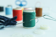 Green thread in spool, Closeup Royalty Free Stock Photography