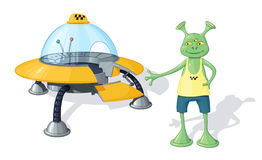 A green three-eyed alien taxi driver in a yellow T-shirt and blue shorts stands near a yellow flying saucer with an open door Royalty Free Stock Images