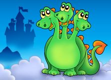 Green three headed dragon on sky. Color illustration Stock Images