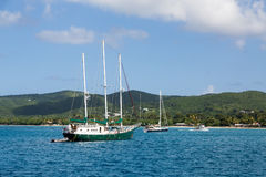 Green Three Masted Sailboat Stock Photo