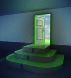 Green three rounded stair doorway with flare Stock Image