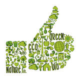 Green Thumb up with environmental icons. Thumb up with environmental hand drawn icons in green. This illustration is layered for easy manipulation and custom stock illustration