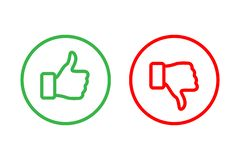 Free Green Thumbs Up And Red Thumbs Down Line Icons Inside Rings Isolated On White Background. Vector Design Elements. Royalty Free Stock Photos - 139894648