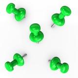 Green Thumbtacks Royalty Free Stock Photos